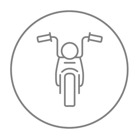 two wheel: Motorcycle line icon for web, mobile and infographics. Vector grey thin line icon in the circle isolated on white background. Illustration
