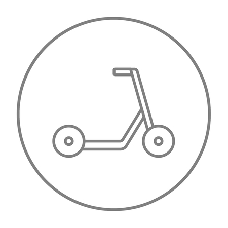Kick scooter line icon for web, mobile and infographics. Vector grey thin line icon in the circle isolated on white background. Illustration