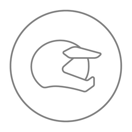 Motorcycle helmet line icon for web, mobile and infographics. Vector grey thin line icon in the circle isolated on white background.