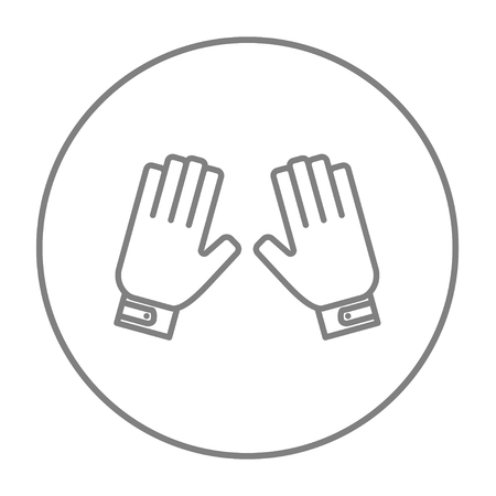 Motorcycle gloves line icon for web, mobile and infographics. Vector grey thin line icon in the circle isolated on white background.