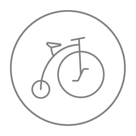 Old bicycle with big wheel line icon for web, mobile and infographics. Vector grey thin line icon in the circle isolated on white background.