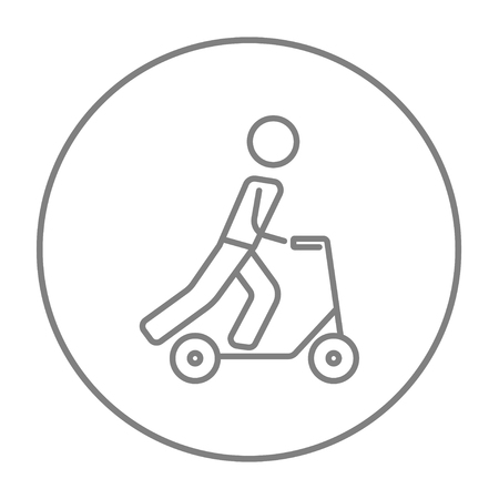 Man riding a kick scooter line icon for web, mobile and infographics. Vector grey thin line icon in the circle isolated on white background.