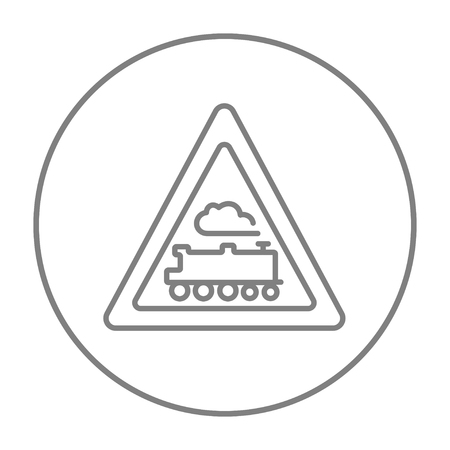 Train sign line icon for web, mobile and infographics. Vector grey thin line icon in the circle isolated on white background.