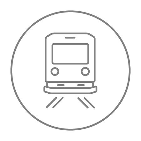 goods train: Back view of train line icon for web, mobile and infographics. Vector grey thin line icon in the circle isolated on white background.