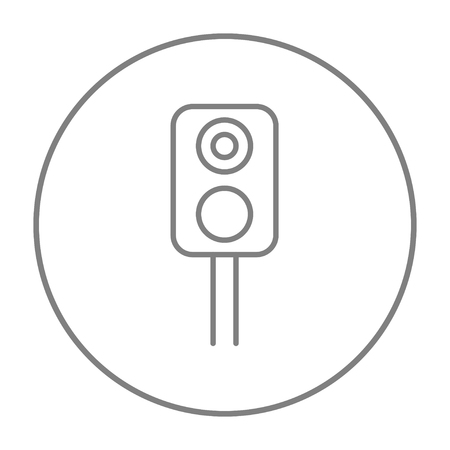 Railway traffic light line icon for web, mobile and infographics. Vector grey thin line icon in the circle isolated on white background.
