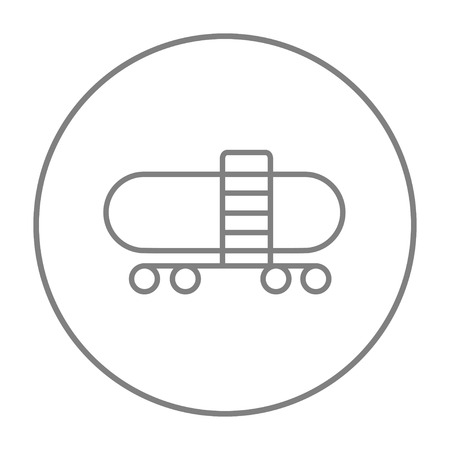 Railway cistern line icon for web, mobile and infographics. Vector grey thin line icon in the circle isolated on white background.