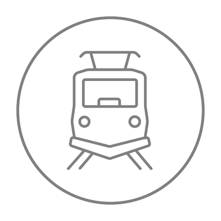 Front view of train line icon for web, mobile and infographics. Vector grey thin line icon in the circle isolated on white background.