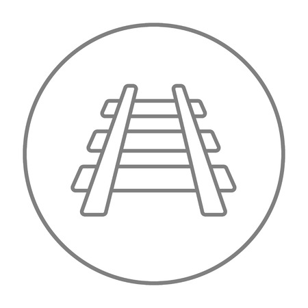 railway track: Railway track line icon for web, mobile and infographics. Vector grey thin line icon in the circle isolated on white background.