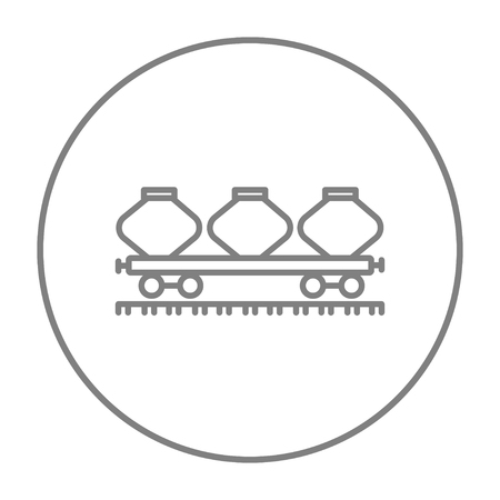 Cargo wagon line icon for web, mobile and infographics. Vector grey thin line icon in the circle isolated on white background.