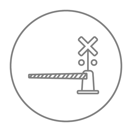 railroad crossing: Railway barrier line icon for web, mobile and infographics. Vector grey thin line icon in the circle isolated on white background. Illustration