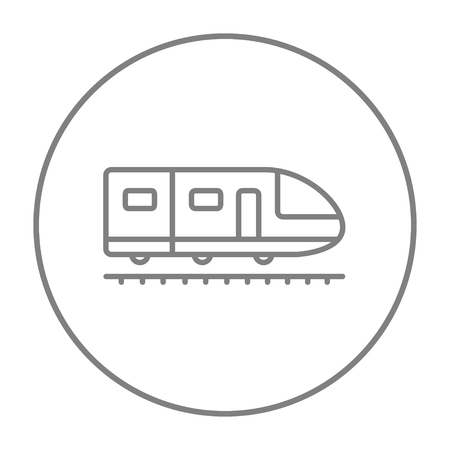 Modern high speed train line icon for web, mobile and infographics. Vector grey thin line icon in the circle isolated on white background.