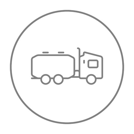 Truck liquid cargo line icon for web, mobile and infographics. Vector grey thin line icon in the circle isolated on white background.