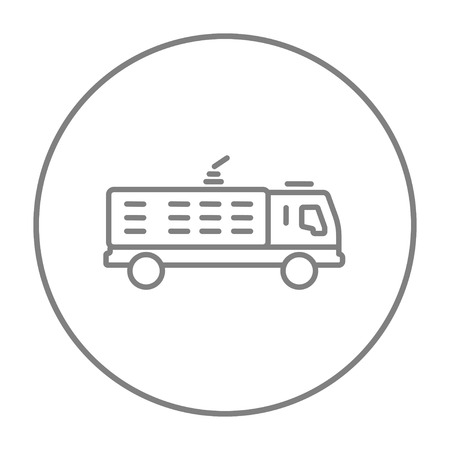 camion: Fire truck line icon for web, mobile and infographics. Vector grey thin line icon in the circle isolated on white background.
