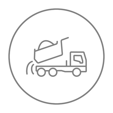 heavy construction: Dump truck line icon for web, mobile and infographics. Vector grey thin line icon in the circle isolated on white background. Illustration