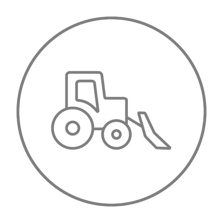 haulage: Bulldozer line icon for web, mobile and infographics. Vector grey thin line icon in the circle isolated on white background.