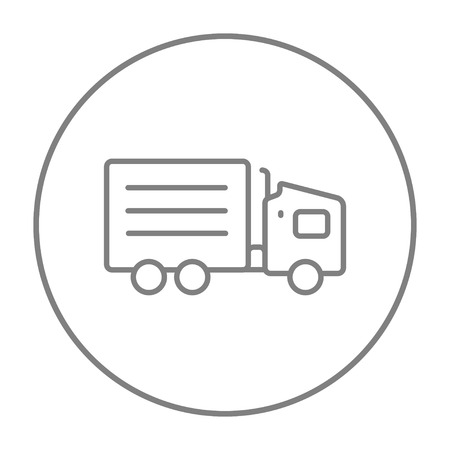 waggon: Delivery truck line icon for web, mobile and infographics. Vector grey thin line icon in the circle isolated on white background.
