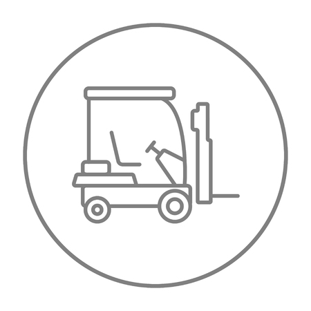 warehousing: Forklift line icon for web, mobile and infographics. Vector grey thin line icon in the circle isolated on white background. Illustration