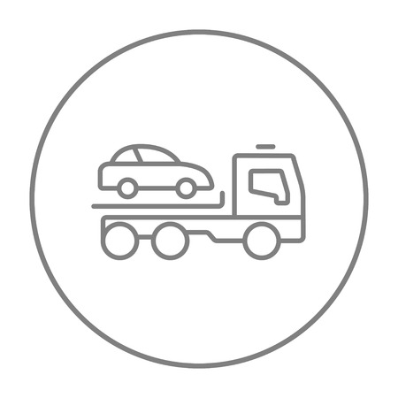 Car towing truck line icon for web, mobile and infographics. Vector grey thin line icon in the circle isolated on white background.