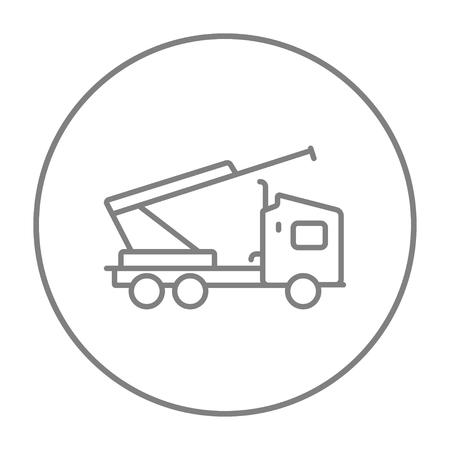Machine met een kraan en wiegen lijn pictogram voor web, mobiel en infographics. Vector grijs dun lijnpictogram in de cirkel die op witte achtergrond wordt geïsoleerd. Stock Illustratie