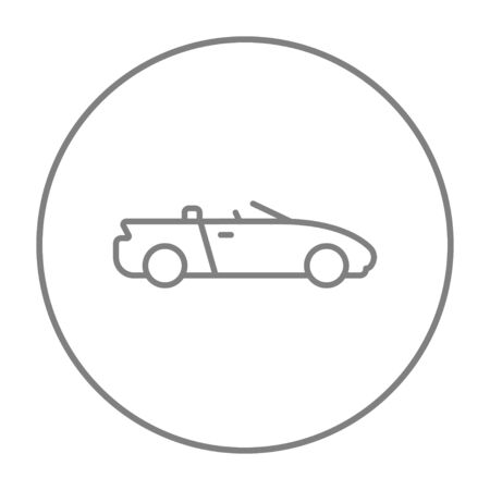 convertible car: Convertible car line icon for web, mobile and infographics. Vector grey thin line icon in the circle isolated on white background.