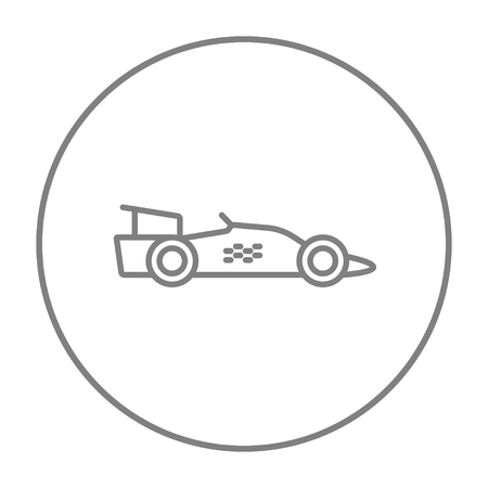 Race car line icon for web, mobile and infographics. Vector grey thin line icon in the circle isolated on white background.