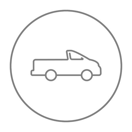 pick up truck: Pick up truck line icon for web, mobile and infographics. Vector grey thin line icon in the circle isolated on white background.