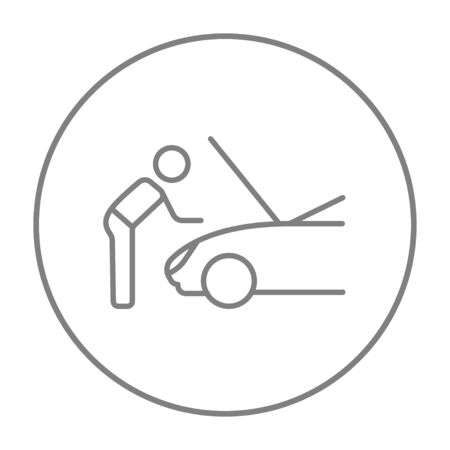 fixing: Man fixing car line icon for web, mobile and infographics. Vector grey thin line icon in the circle isolated on white background.