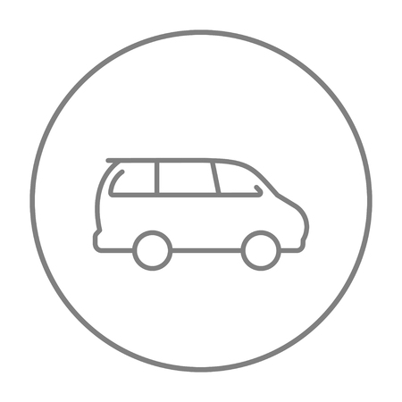 minivan: Minivan line icon for web, mobile and infographics. Vector grey thin line icon in the circle isolated on white background.