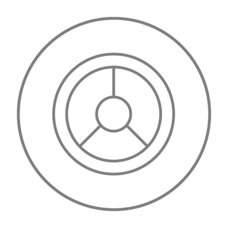 Steering wheel line icon for web, mobile and infographics. Vector grey thin line icon in the circle isolated on white background.