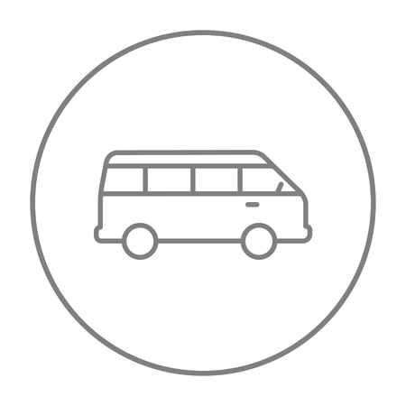 omnibus: Minibus line icon for web, mobile and infographics. Vector grey thin line icon in the circle isolated on white background.