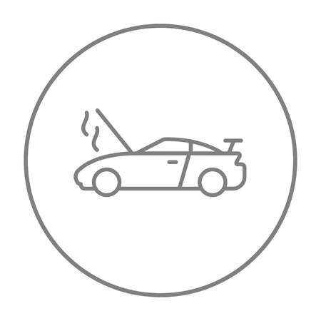 broken down: Broken car with open hood line icon for web, mobile and infographics. Vector grey thin line icon in the circle isolated on white background. Illustration