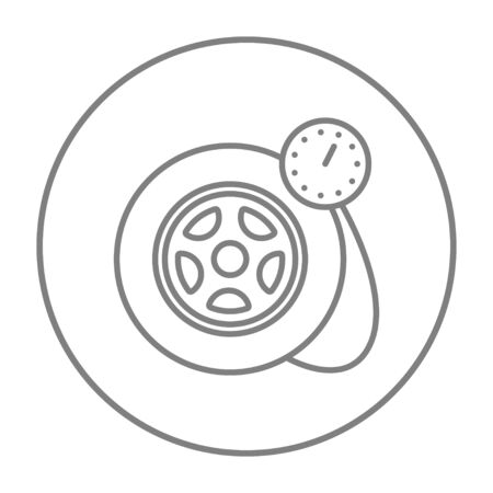 vector tyre: Pressure gauge tyre  line icon for web, mobile and infographics. Vector grey thin line icon in the circle isolated on white background.