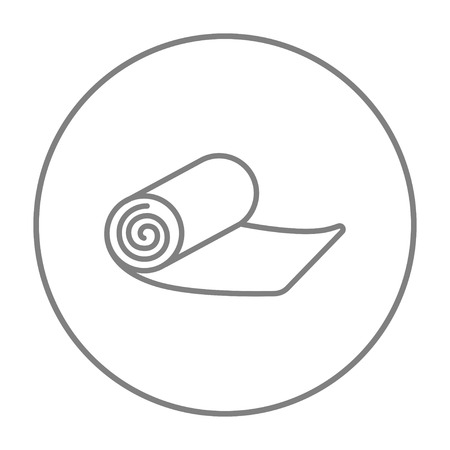 floor mat: Camping carpet line icon for web, mobile and infographics. Vector grey thin line icon in the circle isolated on white background.
