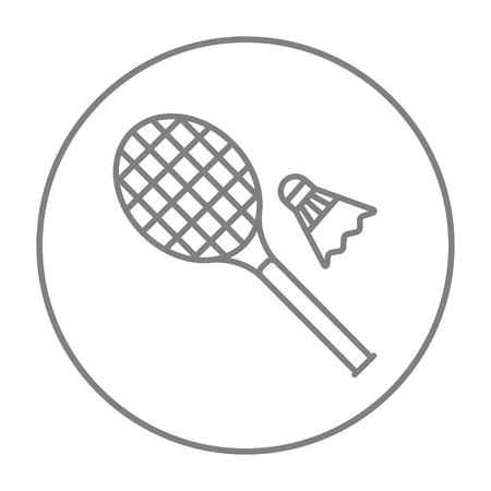 battledore: Shuttlecock and badminton racket line icon for web, mobile and infographics. Vector grey thin line icon in the circle isolated on white background. Illustration