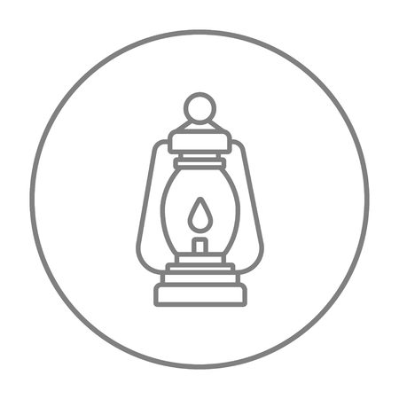 Camping lantern line icon for web, mobile and infographics. Vector grey thin line icon in the circle isolated on white background.