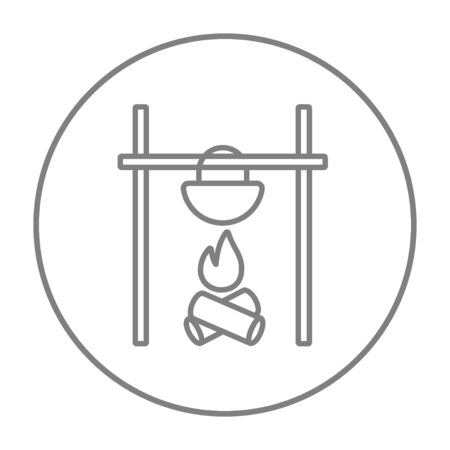 prepare: Cooking in cauldron on campfire line icon for web, mobile and infographics. Vector grey thin line icon in the circle isolated on white background.