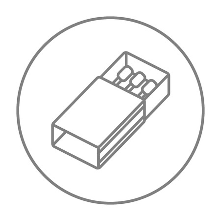 matchbox: Matchbox line icon for web, mobile and infographics. Vector grey thin line icon in the circle isolated on white background. Illustration