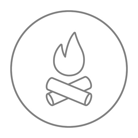 coals: Campfire line icon for web, mobile and infographics. Vector grey thin line icon in the circle isolated on white background. Illustration
