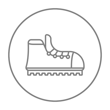 crampons: Hiking boot with crampons line icon for web, mobile and infographics. Vector grey thin line icon in the circle isolated on white background. Illustration