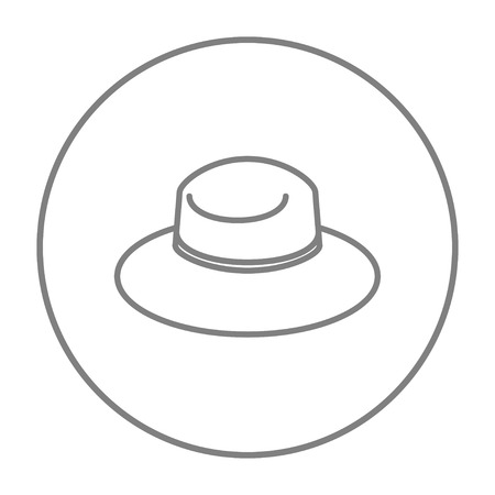 Summer hat line icon for web, mobile and infographics. Vector grey thin line icon in the circle isolated on white background.