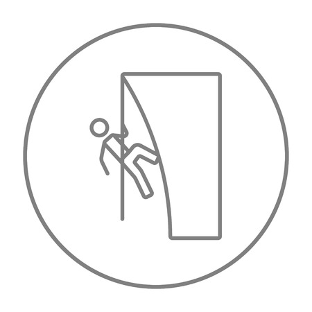 daring: Rock climber climbing an overhanging cliff line icon for web, mobile and infographics. Vector grey thin line icon in the circle isolated on white background.
