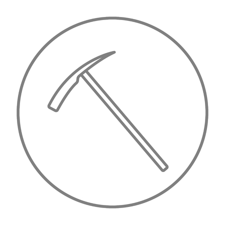 pickaxe: Ice pickaxe line icon for web, mobile and infographics. Vector grey thin line icon in the circle isolated on white background. Illustration