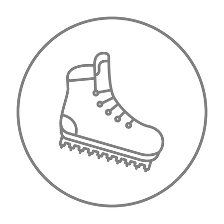 hiking boot: Hiking boot with crampons line icon for web, mobile and infographics. Vector grey thin line icon in the circle isolated on white background. Illustration
