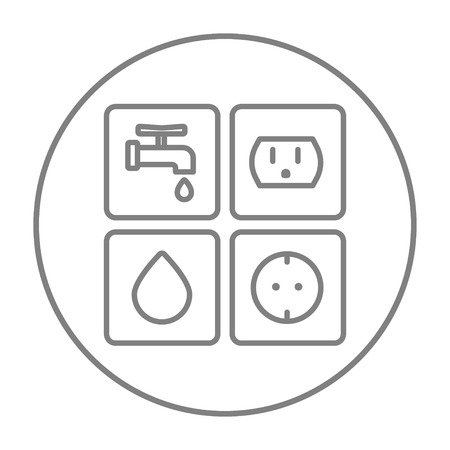 utilities: Utilities signs electricity and water line icon for web, mobile and infographics. Vector grey thin line icon in the circle isolated on white background. Illustration