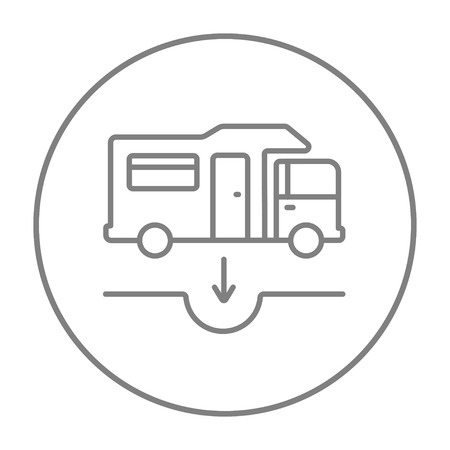 sump: Motorhome and sump line icon for web, mobile and infographics. Vector grey thin line icon in the circle isolated on white background.