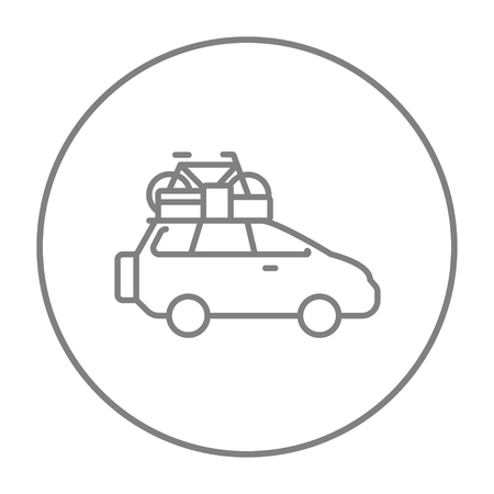 mini bike: Car with bicycle mounted to the roof line icon for web, mobile and infographics. Vector grey thin line icon in the circle isolated on white background.