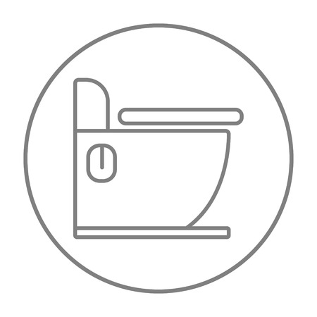 canalization: Toilet line icon for web, mobile and infographics. Vector grey thin line icon in the circle isolated on white background.