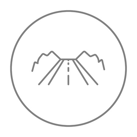 Road line icon for web, mobile and infographics. Vector grey thin line icon in the circle isolated on white background.