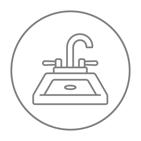 basin: Sink line icon for web, mobile and infographics. Vector grey thin line icon in the circle isolated on white background.
