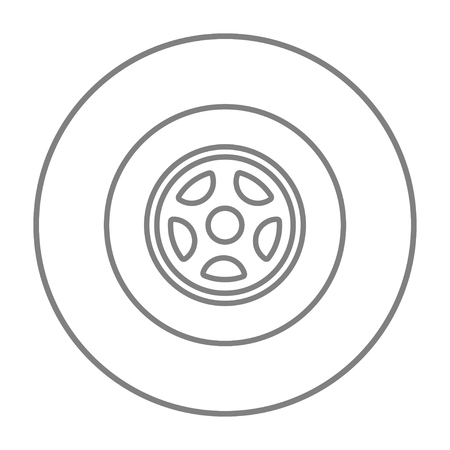 ring road: Car wheel line icon for web, mobile and infographics. Vector grey thin line icon in the circle isolated on white background. Illustration